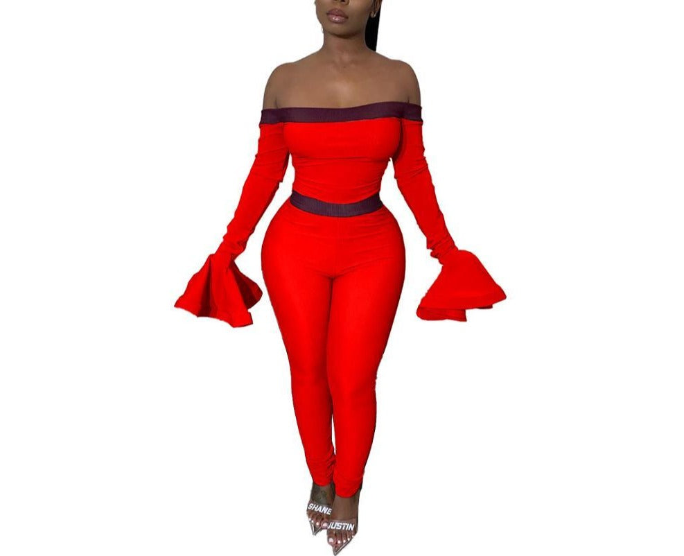 "New Flare Bell ""Stepping Out"" Sleeve Off Shoulder Jumpsuits"