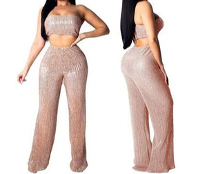 "New Sassy ""Shimmer"" Wide-Leg Pant + Halter Top Set"