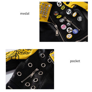 New Moto Biker Style PU Leather Button Riveted Jacket