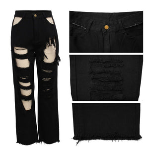 "Hot New Ripped Retro ""Wild Child"" Black Jeans"