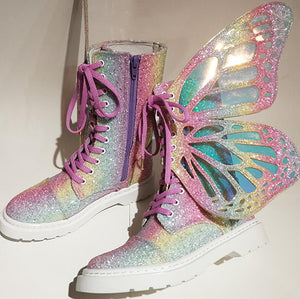 New Designer Glitter Metallic Butterfly Winged Boots