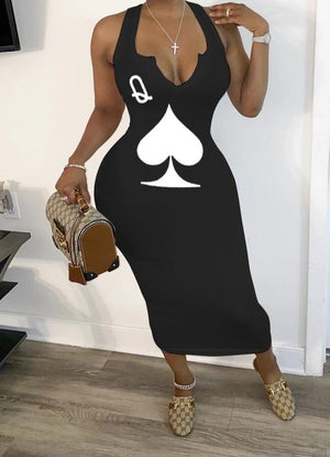 "Fabulous New ""Not Playing With A Full Deck"" Spade Collection Body Dress"