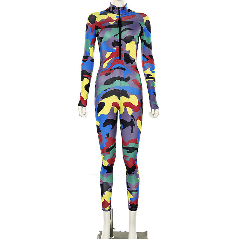 New Cute Colorful Camouflage Body Hugging Jumpsuit