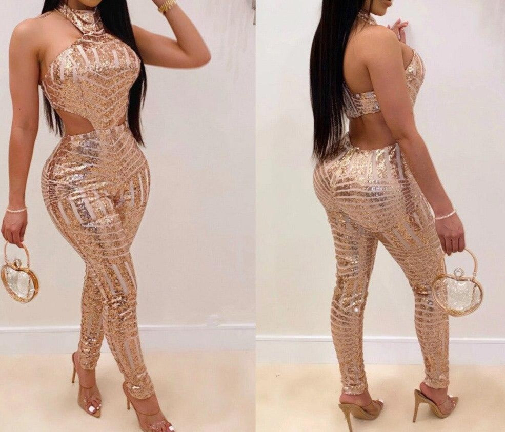 Backless Sequin Halter Sassy Jumpsuit Plus Size In Stock