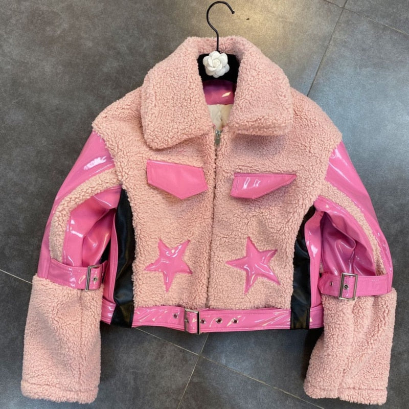 "Runway Fabulous ""Buckle Up"" Shearling PU Leather Bomber Jacket"
