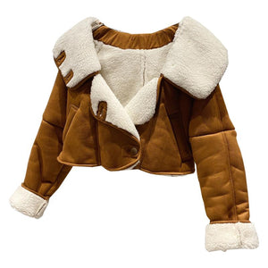 Fab New Cropped Leather Shearling Winter Coat