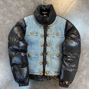 "New Arrival Stylish N Hot Denim PU ""Time To Split"" Down Puffer Jacket"