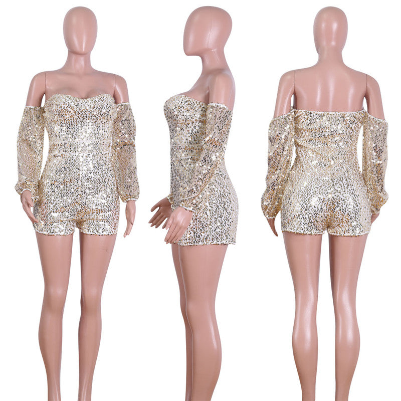 Dazzling Sequins BodyCon Short Play-suit Jumpsuit