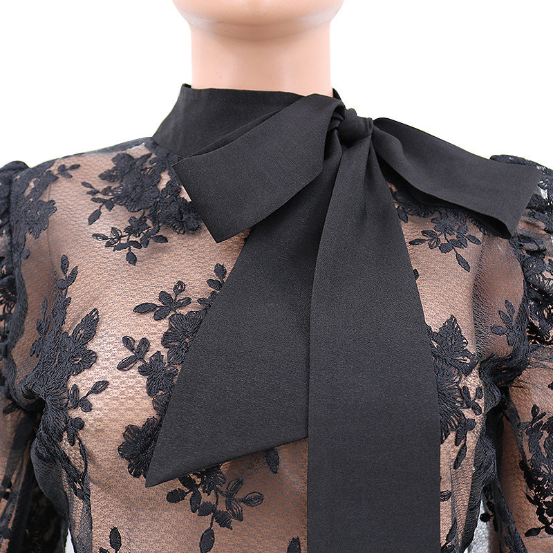 "Designer Stylish ""Glee"" Lace Puff Sleeve Blouse"