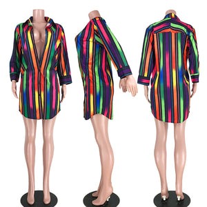 "Hot New ""3 The Hard Way"" Striped Shirt Dress"