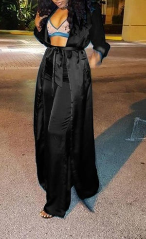 "Exclusive  Elegant Satin ""Kee-Kimono"" Belted Long Jacket + Matching Wide Leg Pant Sets"