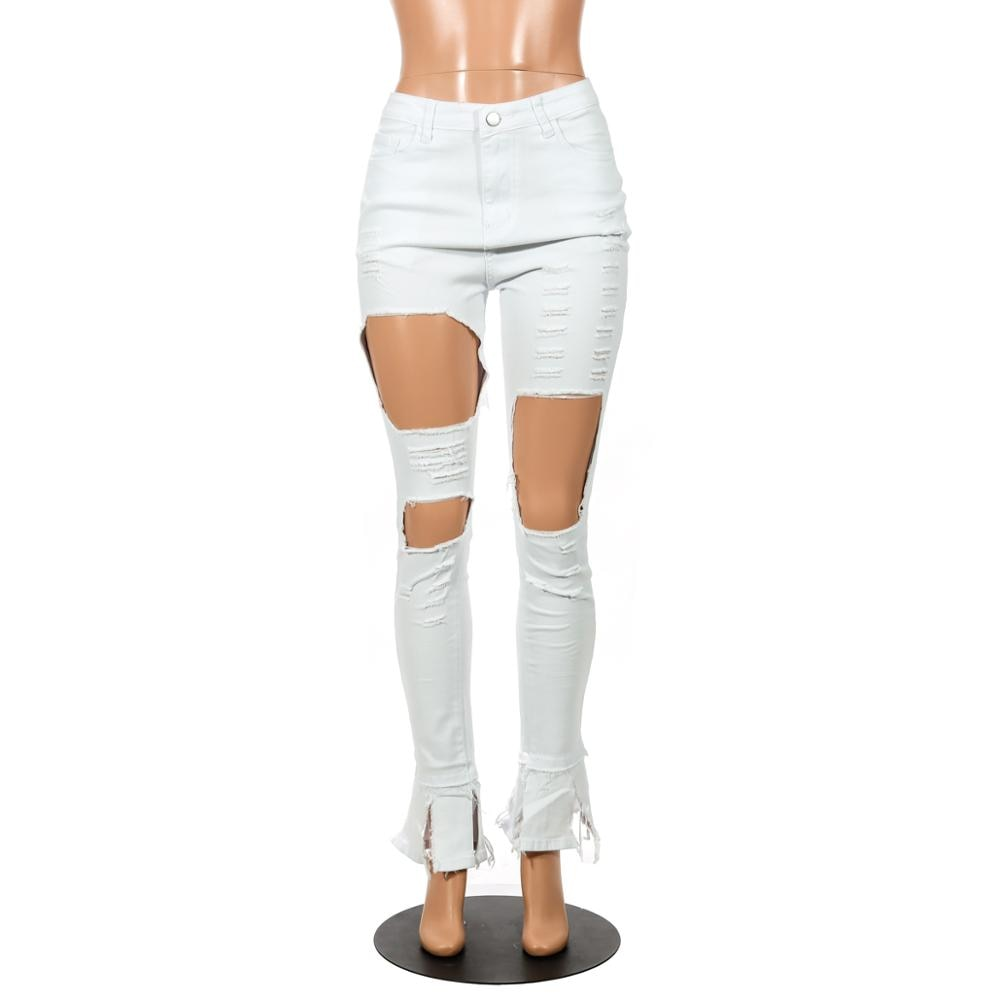 "Sexy Fab ""Turn The Page"" Hole Ripped Shaggy Ankle Jeans"