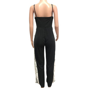Chic Street Wear Glam Striped Snap Away Jumpsuit