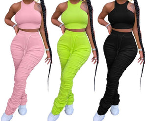 "New Fabulous ""Oh Lawd"" Crop Top + Drawstring Scrunch Pant Sets"