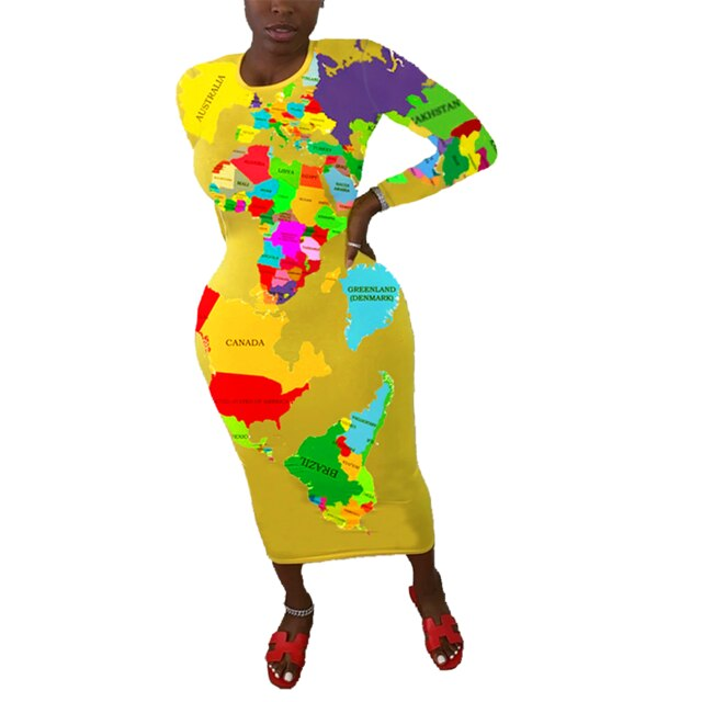 "New Marvelous ""The World Is Yours"" Map Bodycon Dresses"