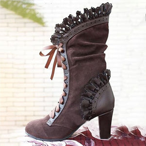 Gorgeous N Stylish Granny Gothic Vintage Witchy Ruffled Boots