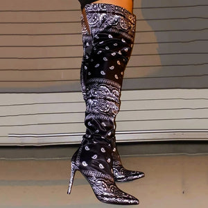 "New Hot Exclusive ""So You Fancy Huh"" Bandana Over-Knee Gorgeous Boots"