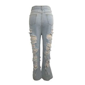Fabulous Torn Wide-Leg Button Fly Jeans