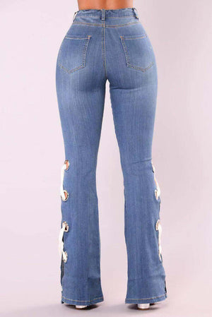 New Hot Vintage Lace-Up Wide-Leg High Waist Jeans
