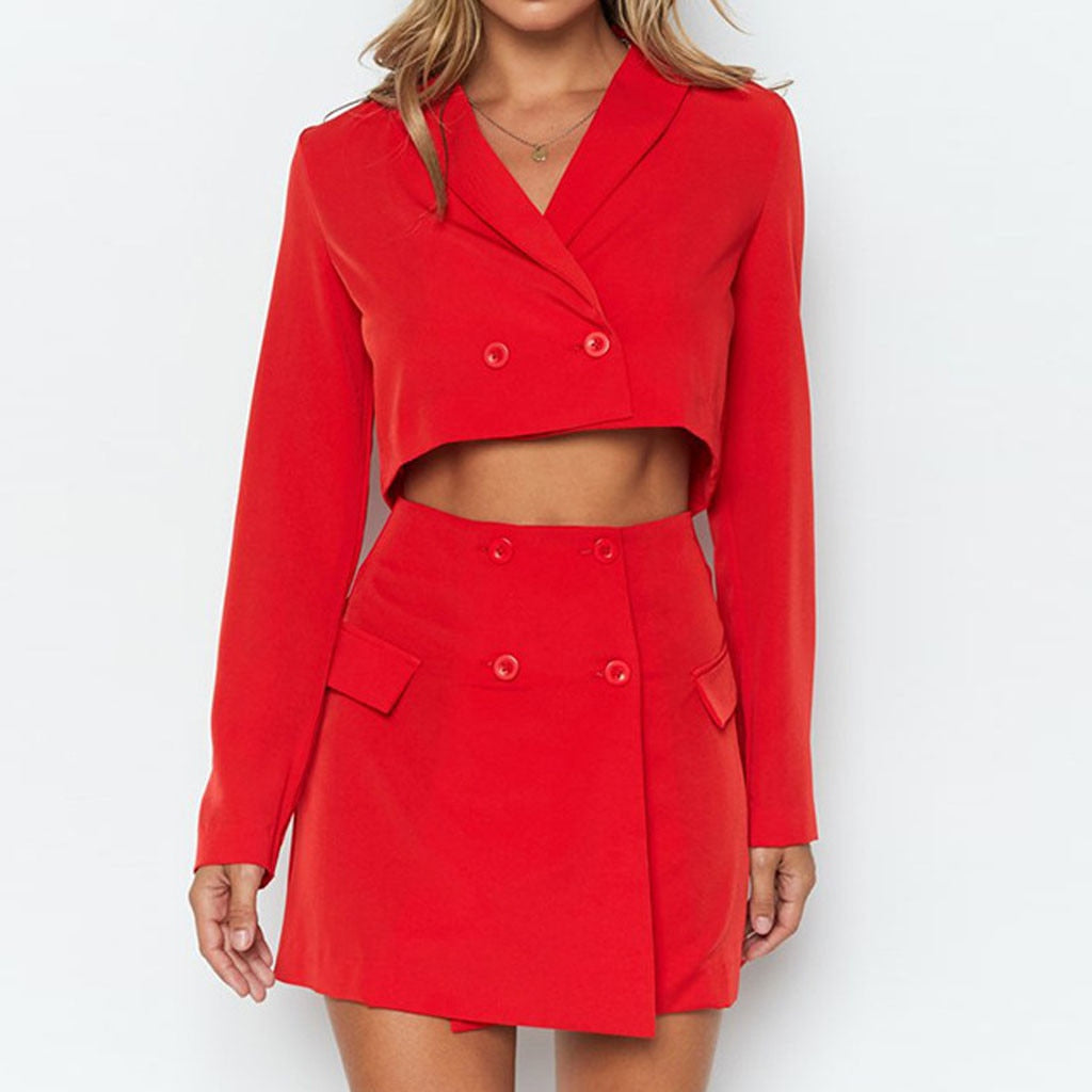 Gorgeous Candy Red Crop Double Breasted Blazer + Matching Mini Skirt Set