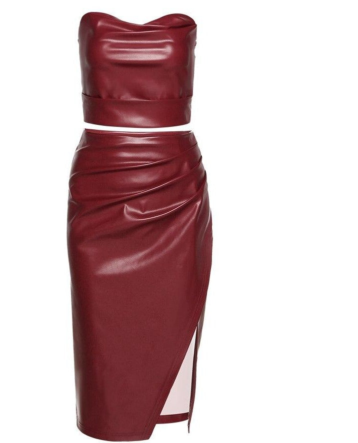 "New ""Time To Play"" Faux Leather Below-knee Corset Halter + Skirt Set"