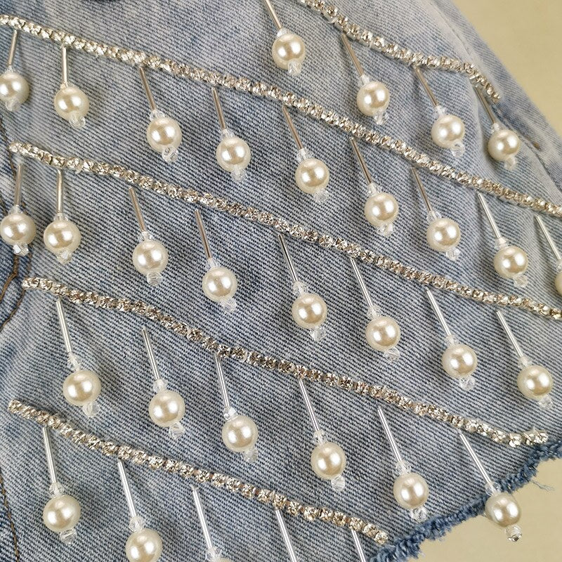 "Fabulous New ""Diamonds & Pearls"" Stunning Rhinestone Pearl Denim Shorts"