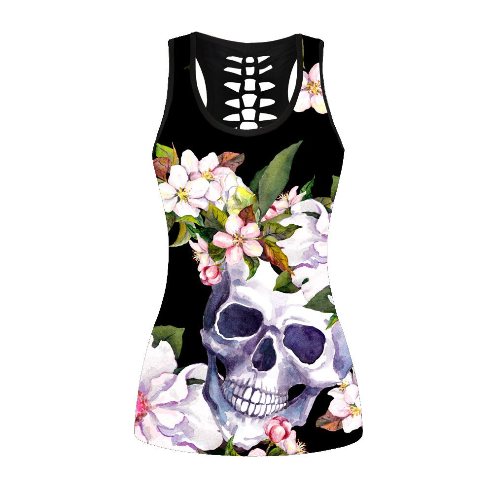 New Pretty Custom Print Graphic Garden Skull Gothic Design Tank Top