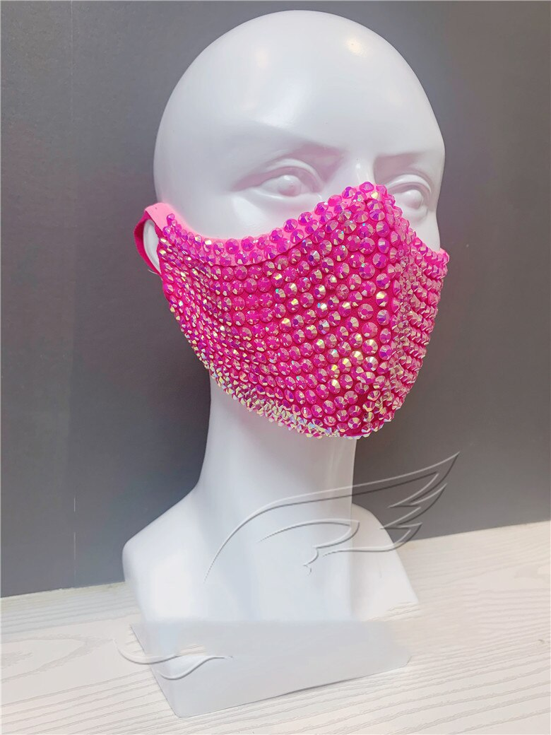 New Custom Hand Designed Elegant Fashionista Beaded Sparkle Face Mask