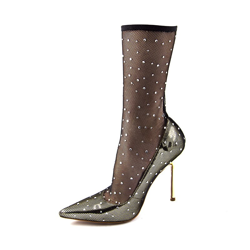 "Gorgeous ""Strike Gold"" Runway Rhinestone Fishnet Stiletto Pumps"