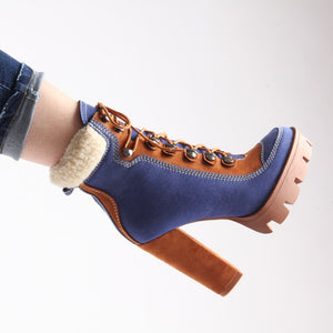 Gorgeous New Super Chunky Denim Platform Ankle Boots