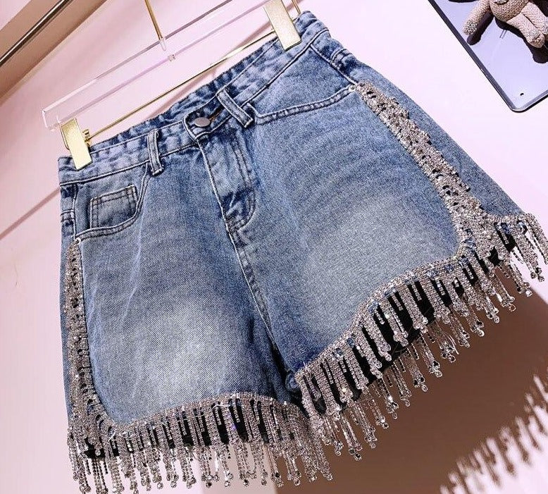 "New Designer Stunning High-Waist ""You Blow My Mind"" Rhinestone Denim Shorts"