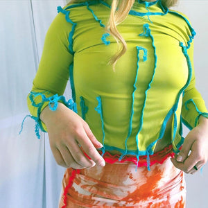 "New Custom Designed From Our CUTIE Collection ""Wreckless Behavior"" Neon Mesh Top"