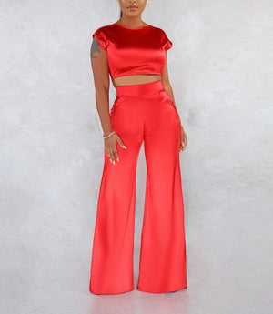 "Gorgeous ""Yo Yo"" Elegant Satin Wide-leg Pants + Cropped Top Set"