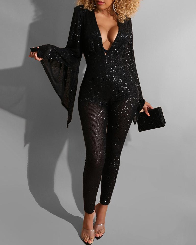 New Seductive & Sassy Sequined Bell Sleeve Glam Jumpsuits