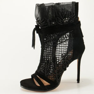 "Exclusive Gorgeous  ""Oh My"" Lace Open-Toe Ankle Boots"