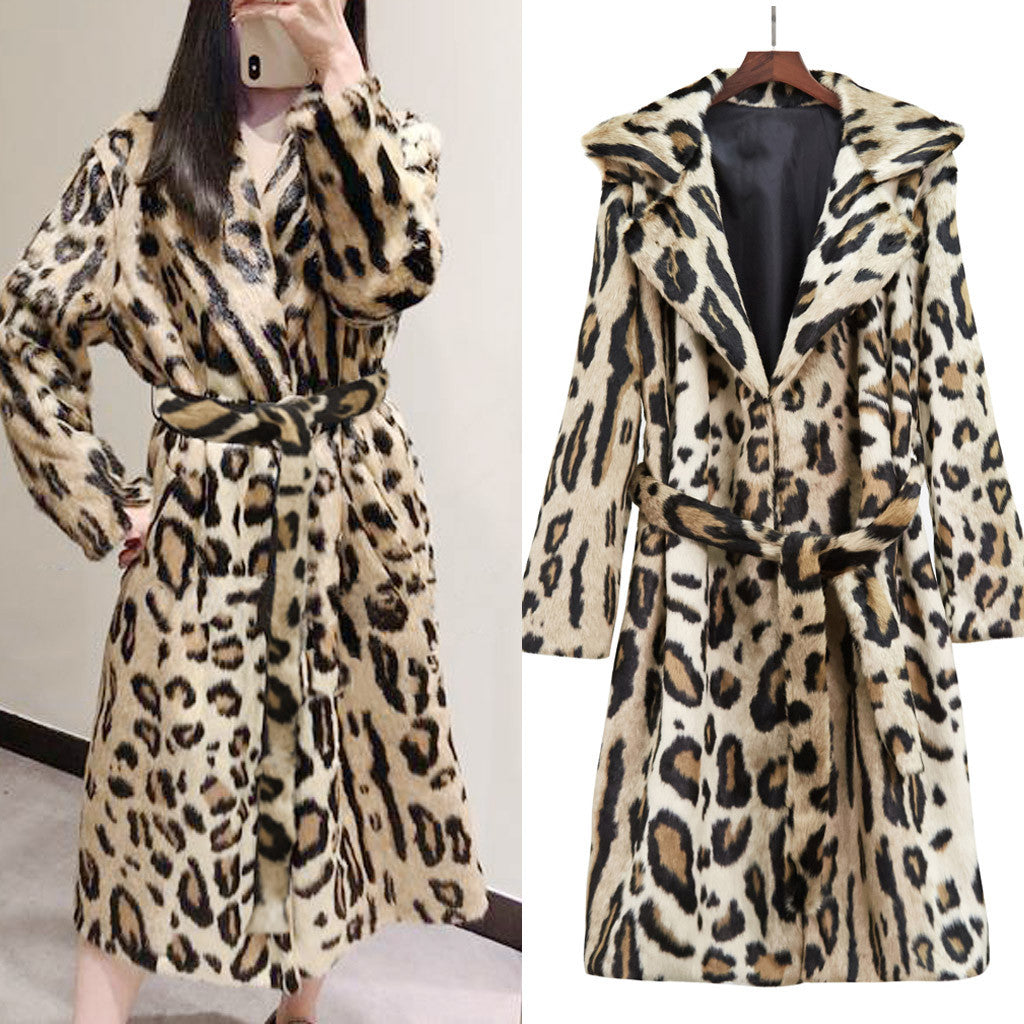 Chic Runway Leopard Retro Belted Faux Fur Coat