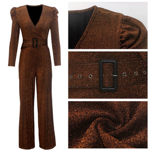 Exquisite Plunge Deep Neck Puff Sleeve Sparkling Jumpsuits