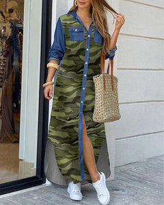 "Cute New Fab ""Take Me As I Am"" Camouflage Button-down Shirt Dress"