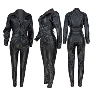 Solid PU Leather Loose Fit Jumpsuit