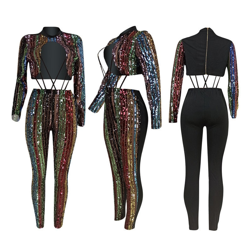 Exclusive Custom Designed Hot Sequined Sexy Strap Jumpsuit