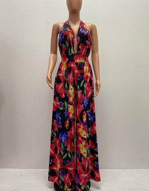 Sexy Floral Deep V Neck Open Back Wide-Leg Jumpsuits