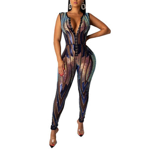 "Luxurious Sequin ""Party Hard"" Custom Designed Corset Jumpsuit"