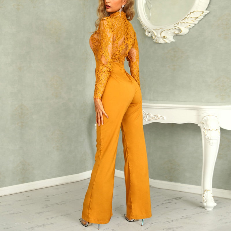 "New Exclusive ""Mary Jane"" Gorgeous Lace Embroidery Wide-Leg Jumpsuit"