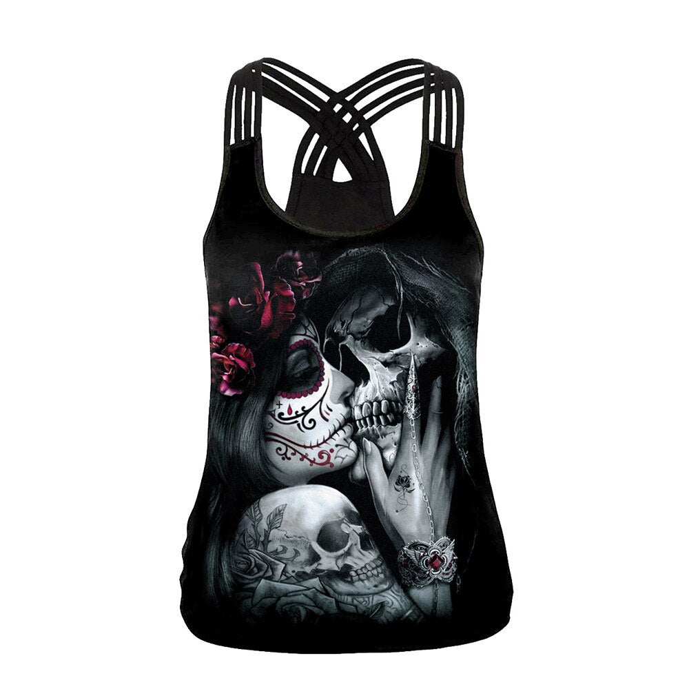 "Hot New Custom ""You're My Secret"" Skull Couple Gothic Tank Tops"