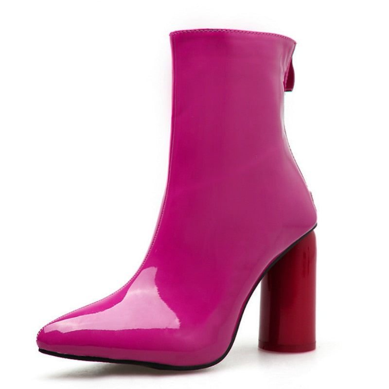 "New Gorgeous Runway Patent Leather ""Groovy"" Hippie Ankle Boots"