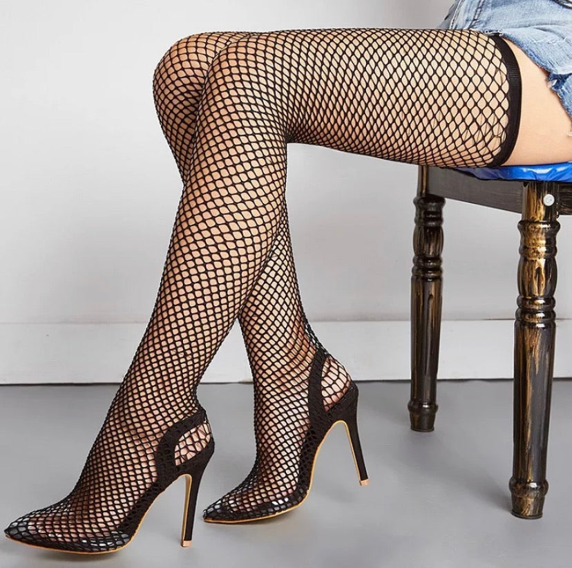 New Hot Neon Fishnet Stretchy Gorgeous Thigh-High Heels