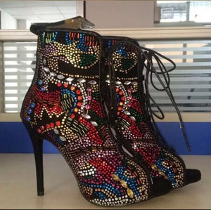 "Back By Popular Demand ""Misunderstood"" Exquisite 10k Crystal Ankle Booties"