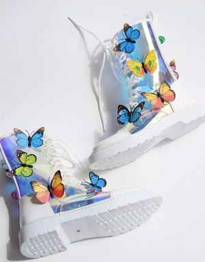 New Fabulous Transparent Butterfly Ankle Boots