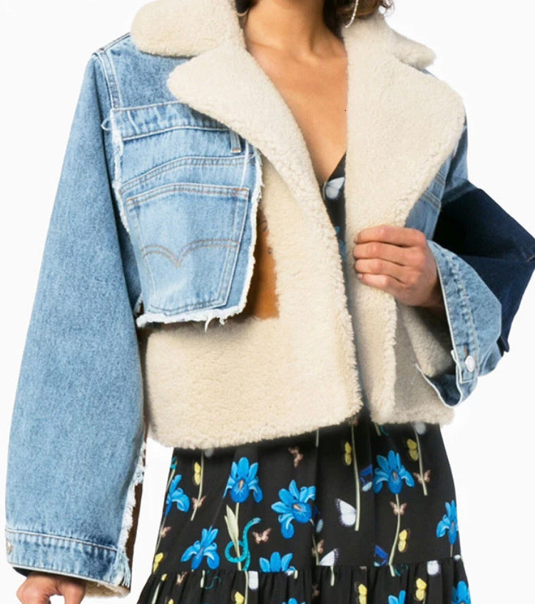 Exclusive In Our Shop Fab New Dark Denim Wool Bomber Jacket
