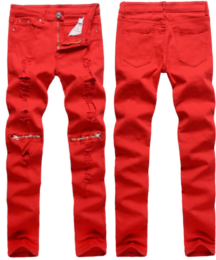 New Skinny Fit Men Colored Denim Zippered Jeans